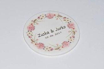Darčeky pre svadobčanov - Magnetky s ružovými kvietkami - 8397943_