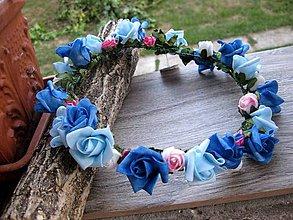 Ozdoby do vlasov - Modrý venček č.1079 - 8396888_