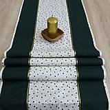 - Zeleno zlaté hviezdy -  stredový obrus 137x40 - 8395978_
