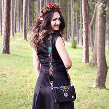 """Kabelky - Kožená kabelka LÝDIA """"Čierna-FOLK"""" - 8396786_"""