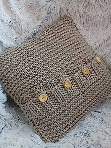 Úžitkový textil - Pletený hnedý vankúš Simply - 8397751_