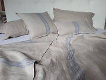 Úžitkový textil - Ľanová prikrývka Blue Stripes - 8397826_
