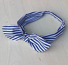 Ozdoby do vlasov - čelenka pin-up prúžok bielo-modrý - 8399780_