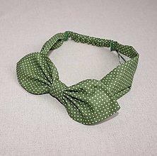 Ozdoby do vlasov - čelenka pin-up zelená s bodkou - 8399923_