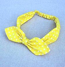 Ozdoby do vlasov - čelenka žltá biela gulička - 8400061_