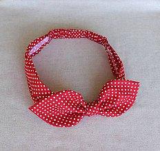 Ozdoby do vlasov - čelenka pin-up červená s bodkou - 8400083_
