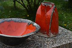 Nádoby - oranžová misa a váza SET - 8399309_
