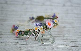 Ozdoby do vlasov - Kvetinový venček z lúčnych kvetov - 8401750_