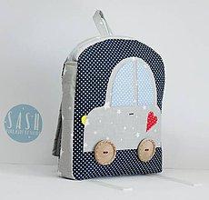 Detské tašky - RUKSAK s autom šedo - tmavomodrý, 2,5r. (2,5r.) - 8401598_