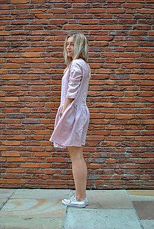 Šaty - Ľanové šaty CLARA ružové (S) - 8399351_