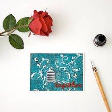 Papiernictvo - together - tyrkysovo-červená pohľadnica s vtáčou klietkou k svadbe alebo na valentína - 8398452_