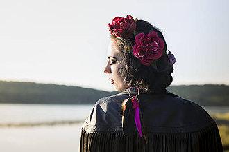 Ozdoby do vlasov - Elastická čelenka s maxi květy temná - 8400029_
