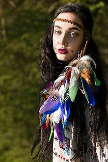 Ozdoby do vlasov - Multifunkční čelenka s pírky zelenomodrá - 8400720_
