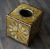 Krabičky - Pre kráľa -vintage krabica na servítky vreckovky-darček aj pre muža - 8398769_