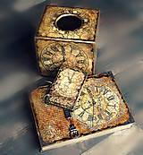 Krabičky - Pre kráľa -vintage krabica na servítky vreckovky-darček aj pre muža - 8398770_