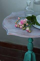 Nábytok - Vintage stolček v tyrkysovej - predaný - 8398590_