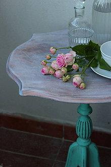 Nábytok - Vintage stolček v tyrkysovej - 8398590_