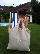 Nákupné tašky - Ľanová nákupná taška Mediteran Style - 8401499_
