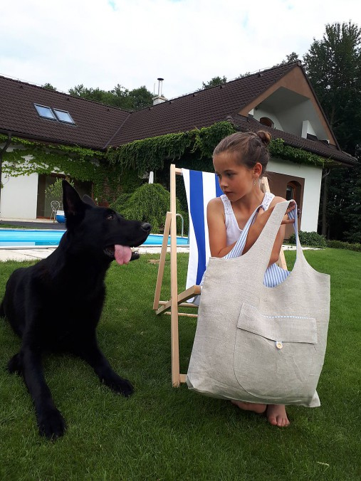 Ľanová nákupná taška Mediteran Style