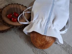 Úžitkový textil - Ľanové vrecko na chlieb Mediteran Style White - 8401175_