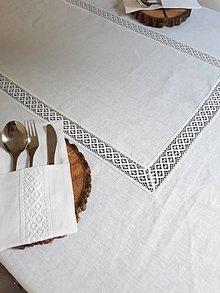 Úžitkový textil - Ľanový obrus White Beauty - 8401545_