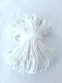Galantéria - Šnúra bavlnená 3mm - BIELA 100 metrov - 8402175_