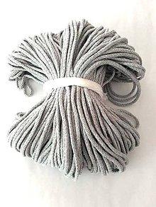 Galantéria - Šnúra bavlnená 3mm - ŠEDÁ 100 metrov - 8402196_