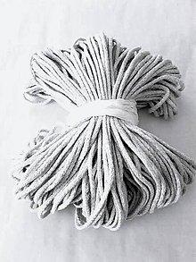Galantéria - Šnúra bavlnená 3mm - SVETLOŠEDÁ 100 metrov - 8402317_