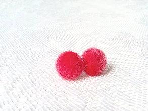 Náušnice - Fluffy earrings (red) - 8403118_