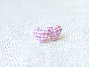 Náušnice - Little hearts earrings (pink/white) - 8403185_