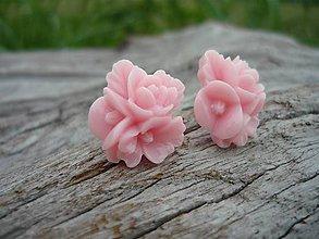 Náušnice - Náušnice Trojité Ružičky ružové - 8404597_