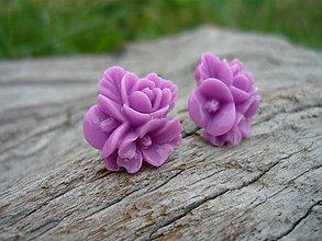 Náušnice - Náušnice Trojité Ružičky fialové - 8404634_