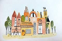 - Mesto 5 ilustrácia obraz / originál maľba - 8402310_