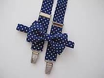 Doplnky - Detský motýlik a traky- bodkovaný set - 8404374_