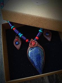 Sady šperkov - set Lapis lazuli + Koral - 8402635_
