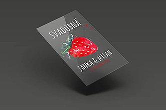 Darčeky pre svadobčanov - Svadobné etikety - svadobná jahoda - 8404449_
