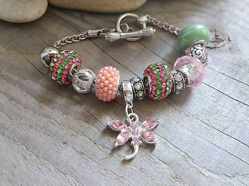 Náramok v štýle PANDORA ružovo-zelený   Johnny7 - SAShE.sk ... aaf01562fc3