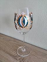 Nádoby - Pohár na víno modro-sivý tekvička - 8404540_