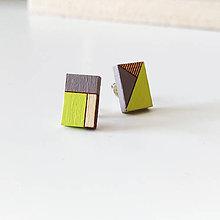 Náušnice - Drevené napichovačky Neonky (Obdĺžniky) - 8402725_