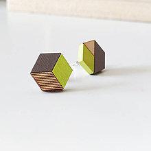 Náušnice - Drevené napichovačky Neonky (Šesťuholníky) - 8402737_