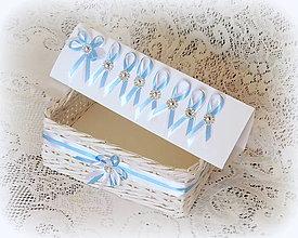 Košíky - Košík na svadobné pierka - modro-biely - 8403077_