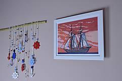 Vyšívaný obraz Loď na mori...NOC