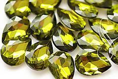 Komponenty - kabošon sklenený olive green 13x18/ 1ks - 8406729_