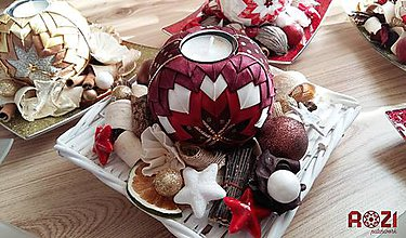 Svietidlá a sviečky - Vianočný patchwork svietnik - 8407169_