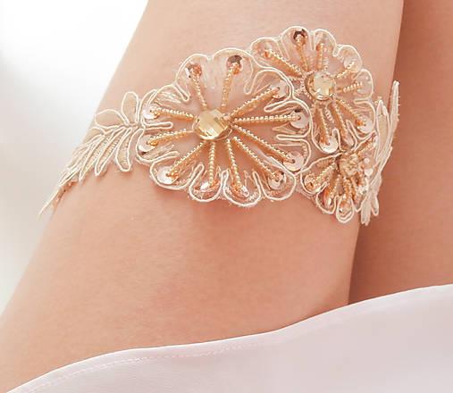 Béžová kvetinová čipka (telová, nude, champagne) - podväzok
