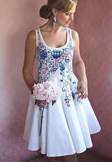 Šaty - Maľované šaty s folk kvetmi a kruhovou sukňou... - 8405672_