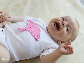 Detské oblečenie - body RUŽOVÝ SLONÍK gulička (dlhý/krátky rukáv) - 8408231_