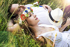 Kytice pre nevestu - Svadobný folkový trojset z lúčnych kvetov - 8408053_