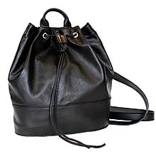 Batohy - Luxusný kožený ruksak z jemnej prírodnej kože v čiernej farbe - 8408660_