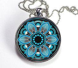Náhrdelníky - Rozeta tyrkysová - autorský náhrdelník - velký - 8408416_